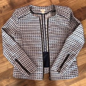 J. Crew Woven Zippered Blazer - Blue Mini Hearts.